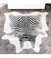 Zebra Print Cow Hide Rug - Black on White